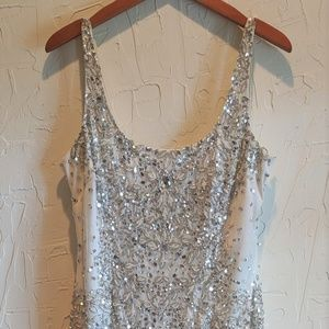 Adrianna Papell White Beaded Tank Evening Gown